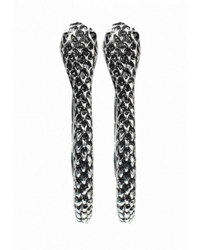 Серьги-кольца серебряного цвета Art Silver