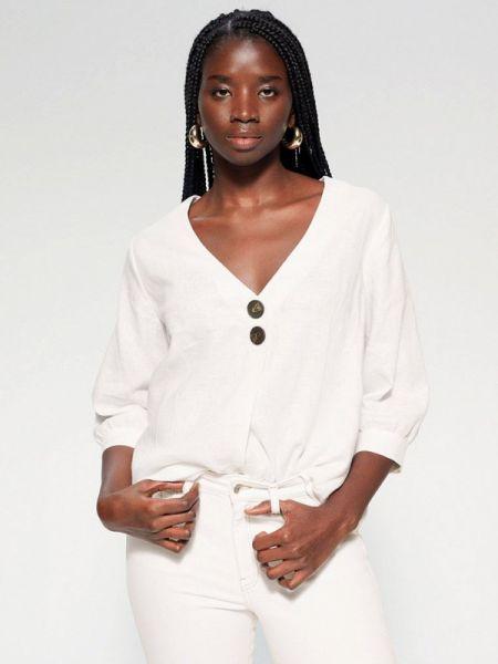 Блузка с длинным рукавом белая весенний Violeta By Mango
