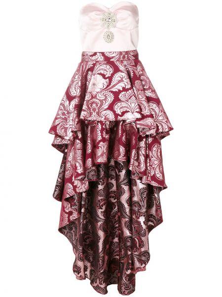 Шелковое розовое платье с оборками Christian Pellizzari