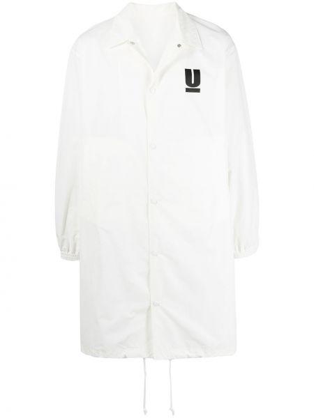Biały długi płaszcz z nylonu z długimi rękawami Undercover