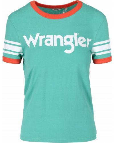 Zielony t-shirt bawełniany z printem Wrangler