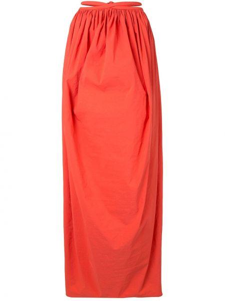 Оранжевая нейлоновая ажурная с завышенной талией юбка макси Christopher Esber