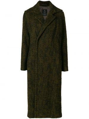 Прямое шерстяное длинное пальто с капюшоном Yohji Yamamoto Pre-owned