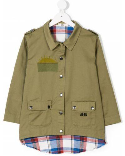Зеленое классическое длинное пальто на пуговицах с вышивкой Bandy Button