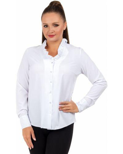 С рукавами деловая блузка с оборками на пуговицах Liza Fashion