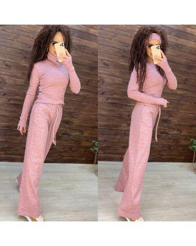 Костюмные розовые спортивные брюки с воротником Дефиле