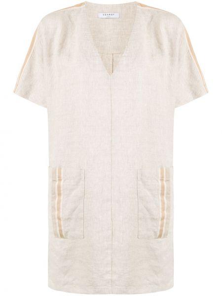 Льняное платье мини на молнии Venroy