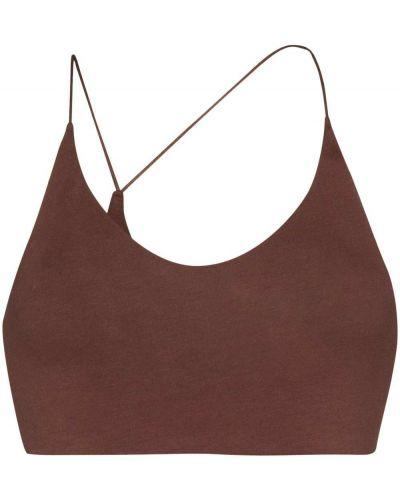 Асимметричный кожаный коричневый бюстгальтер с вырезом Skin