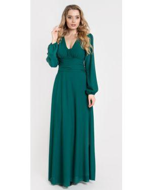 С рукавами шифоновое вечернее платье на торжество свободного кроя Filigrana