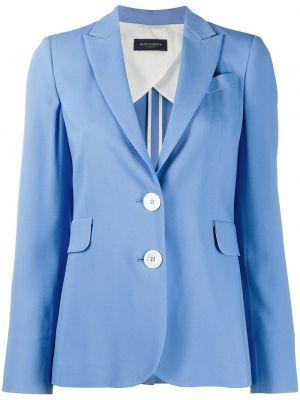 Однобортный синий удлиненный пиджак с карманами Piazza Sempione