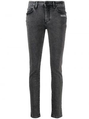 С завышенной талией кожаные белые джинсы-скинни с пайетками Off-white