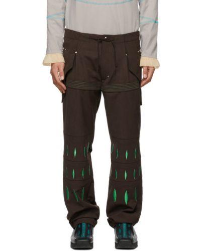 Zielone spodnie z haftem srebrne Kiko Kostadinov