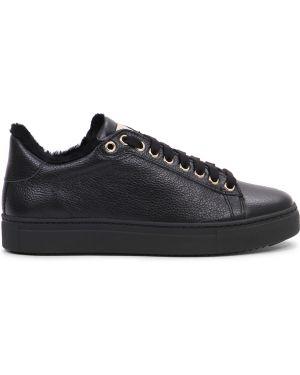 Кожаные черные кеды на шнуровке с подкладкой Stokton