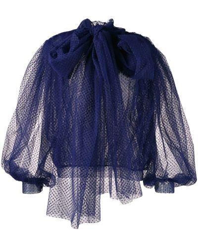 Фиолетовая асимметричная приталенная блузка из фатина Palomo Spain