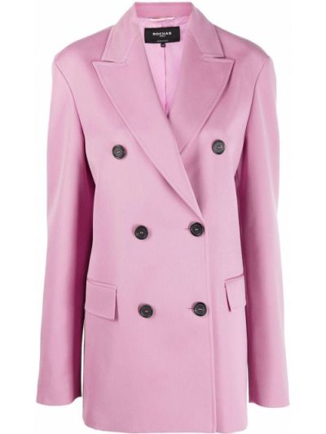 Klasyczny różowy płaszcz wełniany Rochas
