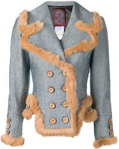 Приталенный синий удлиненный пиджак винтажный John Galliano Pre-owned