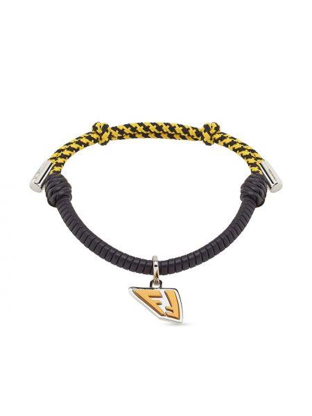 Czarna bransoletka łańcuch skórzana Fendi
