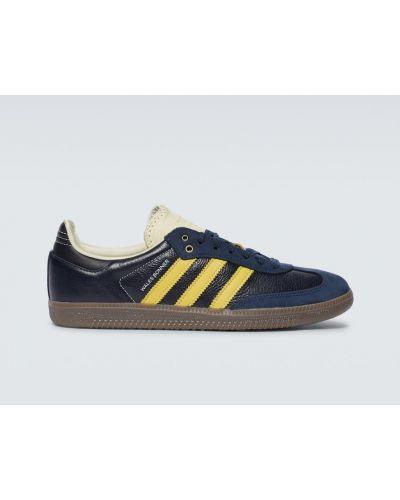 Синие кожаные кроссовки винтажные Adidas