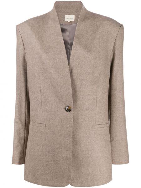 Шерстяной коричневый удлиненный пиджак на пуговицах Loulou
