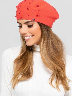 Różowy beret materiałowy Kamea