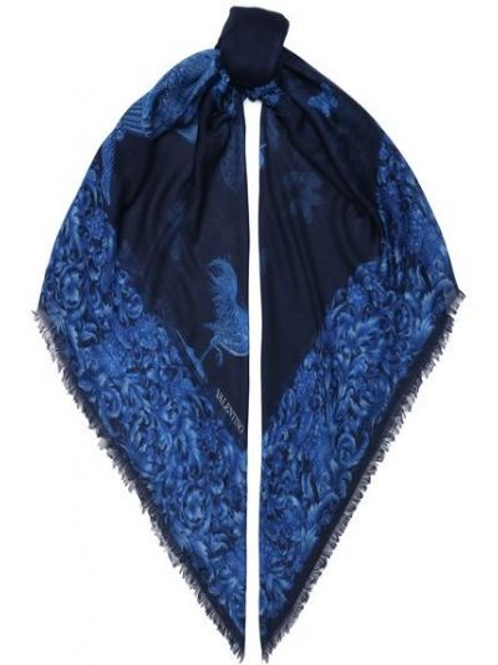 Итальянская синяя шелковая шаль Valentino