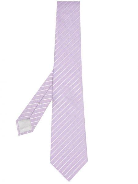 Fioletowy krawat z jedwabiu w szpic Giorgio Armani