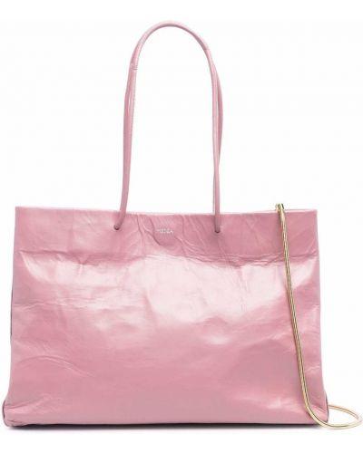 Różowa torebka na łańcuszku skórzana Medea