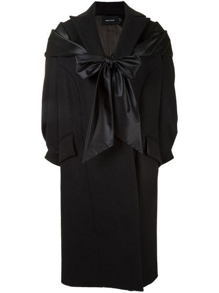 Czarny płaszcz wełniany Simone Rocha
