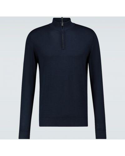 С рукавами шерстяной синий свитер с воротником Sunspel