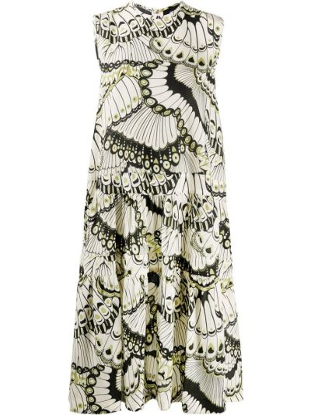 Шелковое бежевое платье без рукавов круглое Rochas