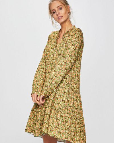 Sukienka mini w pasy zielona Answear