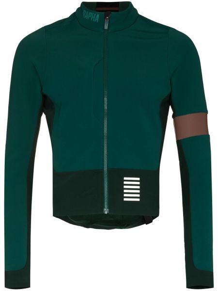 Zielona długa kurtka z nylonu z długimi rękawami Rapha
