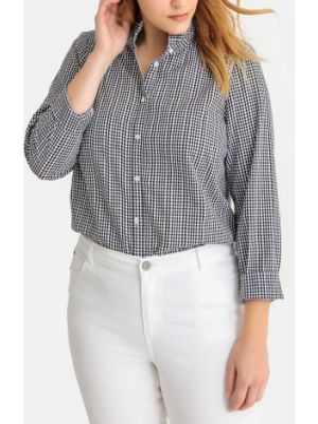 Рубашка с длинным рукавом в клетку с воротником-стойкой Castaluna