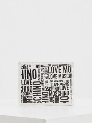 Белые кожаные футляр для очков Love Moschino