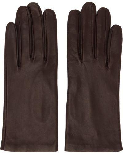 Коричневые кожаные перчатки Dries Van Noten