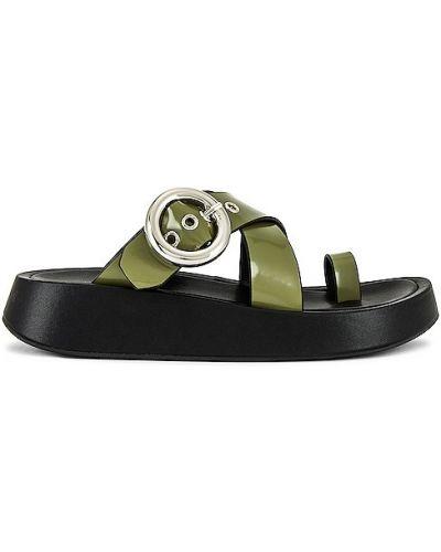 Sandały skórzane na platformie - khaki Jeffrey Campbell