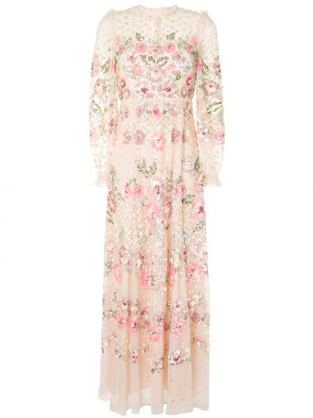 Платье розовое с цветочным принтом Needle & Thread