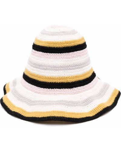 Czarny kapelusz w paski Oscar De La Renta
