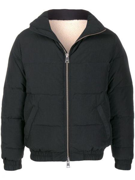 Czarna długa kurtka wełniana z długimi rękawami Ami