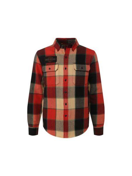Приталенная фланелевая рубашка с карманами с воротником Harley Davidson