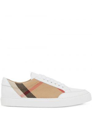Кожаные кроссовки на тонкой подошве белый Burberry