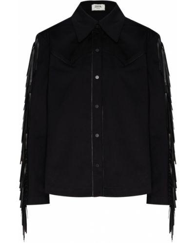 Кожаная черная рубашка с бахромой Izeta