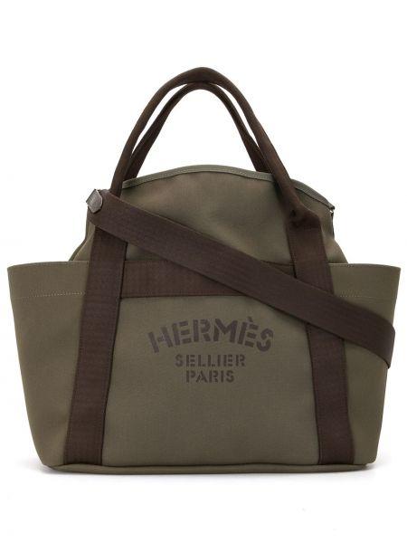 Коричневая парусиновая с ручками сумка с логотипом Hermès