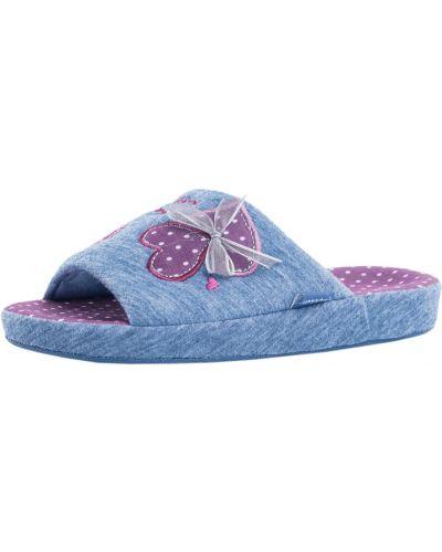 Синие текстильные тапочки котофей