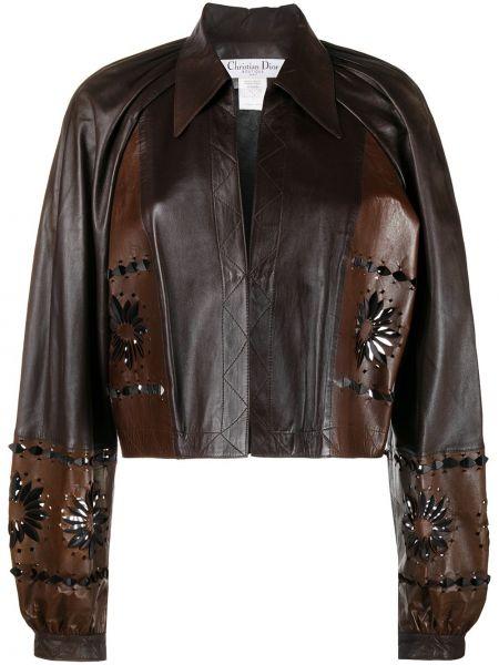 Skórzany brązowy klasyczny długa kurtka z długimi rękawami Christian Dior