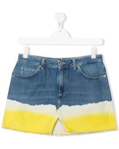 Хлопковая синяя джинсовая юбка на пуговицах Dondup Kids