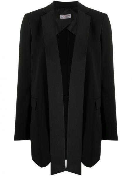 Хлопковый черный удлиненный пиджак с воротником Alberto Biani