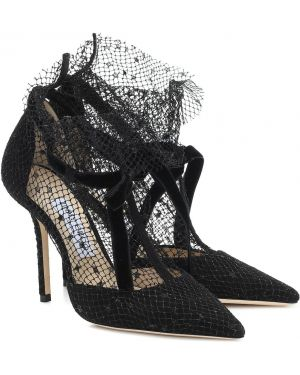 Замшевые туфли черные лодочки Jimmy Choo