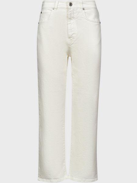 Хлопковые белые джинсы на молнии Weekend Max Mara