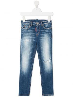 Кожаные синие джинсы с карманами Dsquared2 Kids